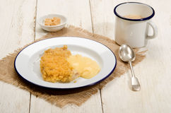 British apple crumble with custard on enamel plate Stock Photography