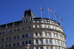 British architecture decorated with Union Jack flags Stock Image