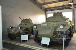 British armored personnel carrier FV-602 `Saracen` and armored reconnaissance vehicle. royalty free stock image