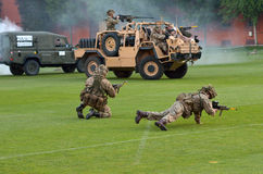 British Army force during military demonstration show Stock Images