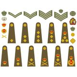 British Army insignia. Epaulets, military ranks and insignia. Illustration on white background Royalty Free Stock Image