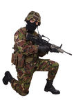 British Army Soldier with assault rifle Stock Image
