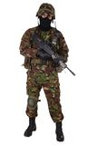 British Army Soldier in camouflage uniforms. Isolated on white Royalty Free Stock Photography