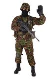 British Army Soldier in camouflage uniforms. Isolated on white Royalty Free Stock Photos