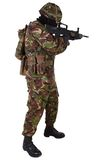 British Army Soldier in camouflage uniforms. Isolated on white Stock Photos
