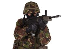 British Army Soldier in camouflage uniforms. Isolated on white Royalty Free Stock Image