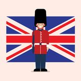 British Army soldier with United Kingdom flag background royalty free stock image