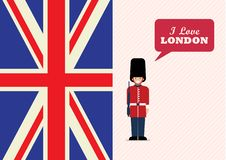 British Army soldier with word I love London stock photo