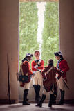 British army soldiers. With historical redcoat attire and weaponry. June 15, 2014, A day in the 700 - Association of Italian Marie Antoinette, Villa Sorra Royalty Free Stock Photos