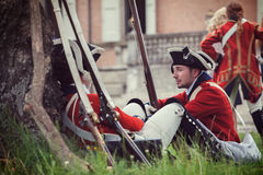 British army soldiers. With historical redcoat attire and weaponry. June 15, 2014, A day in the 700 - Association of Italian Marie Antoinette, Villa Sorra Royalty Free Stock Photography