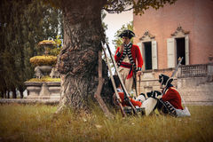 British army soldiers. With historical redcoat attire and weaponry. June 15, 2014, A day in the 700 - Association of Italian Marie Antoinette, Villa Sorra Stock Images