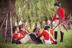 British army soldiers. With historical redcoat attire and weaponry. June 15, 2014, A day in the 700 - Association of Italian Marie Antoinette, Villa Sorra Stock Photo