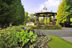 British Bandstand, Yorkshire. Constructed in Victorian times, this beautiful bandstand is in the Yorkshire town of Ripon, in Spa park Stock Photo