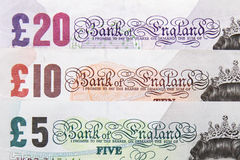 British banknotes. Five, ten and twenty pounds banknotes - british pound sterling Stock Photos
