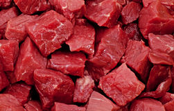 British Beef. Raw meat, in this case diced British beef with the marbling effect clearly visible Royalty Free Stock Photos