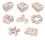 British Bills. 8 different layouts of British bills Stock Image