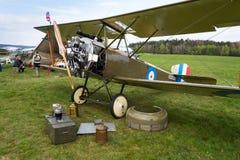 British biplane aircraft from First World War Sopwith Strutter replica. PLASY, CZECH REPUBLIC - APRIL 30 2017: British biplane aircraft from First World War Royalty Free Stock Photos