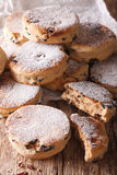 British biscuits: Welsh cakes with raisins and powdered sugar cl Royalty Free Stock Image