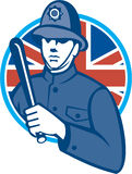 British Bobby Policeman Truncheon Flag. Illustration of a British London bobby police officer policeman man wielding truncheon or baton also called cosh Stock Photos