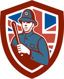 British Bobby Policeman Truncheon Flag Shield Retro. Illustration of a British London bobby police officer policeman man wielding truncheon or baton also called Royalty Free Stock Images
