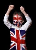 British boy. British  fan close up on black Stock Image