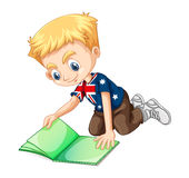 British boy reading a book Stock Photography