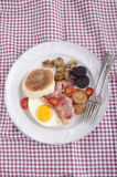 British breakfast muffin on a plate Royalty Free Stock Photography