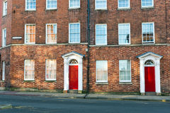 British bricked houses. Row of the old typical British bricked houses Royalty Free Stock Photography