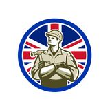British Builder Union Jack Flag Icon. Icon retro style illustration of British builder, carpenter or construction worker with hammer arms crossed with United Royalty Free Stock Image