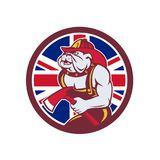British Bulldog Fireman Union Jack Flag Icon. Icon retro style illustration of a British Bulldog fireman or firefighter holding fire axe  with United Kingdom UK Stock Images