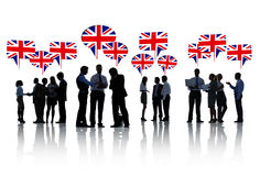 British Business People Talking and Discussing Stock Image