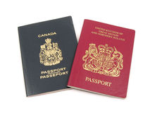 British and Canadian passport Stock Photos