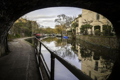 British canal with houseboats Royalty Free Stock Photo