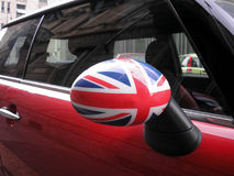 British car. Mirror with Union Jack flag Royalty Free Stock Images