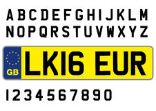 British car plate with symbols, numbers and letters Royalty Free Stock Photography