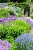 British castle garden during spring in Sussex. Colorful border in British castle garden during spring in Sussex, England Stock Images