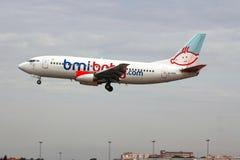 British Charter flight landing in Lisbon airport Royalty Free Stock Photo