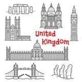 British and chilean travel landmarks sketches Stock Image