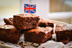 British chocolate brownies. Chocolate brownies home made with the British Union Jack flag Royalty Free Stock Image