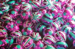 British Christmas globes. Turquoise and pink british Christmas globes Stock Photos