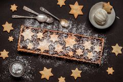 Fruit Mince Tart. British Christmas Mincemeat Tart, Shortcrust Pastry with Fruit Mince stock images