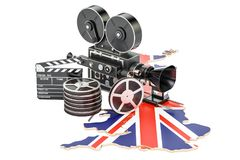 British cinematography, film industry concept. 3D rendering. Isolated on white background Stock Images