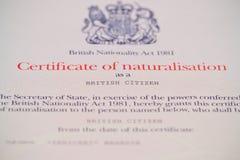 British Citizenship Certificate. Close UP British Citizenship Certificate stock photos