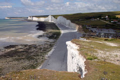 British coastline. Seven sisters white chalk cliffs in Engalnd Royalty Free Stock Photo
