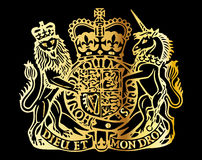 British Coat Of Arms. As used on the front cover of a new british passport stock illustration