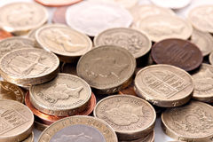 British coin currency. Heap of different british pound sterling coins. Macro Stock Photography