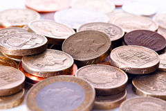 British coin currency. Heap of different british pound sterling coins. Macro Royalty Free Stock Photography