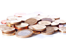 British coin currency. Heap of different british pound sterling coins. Macro Royalty Free Stock Photo