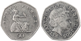 The British coin fifty pence Stock Photography