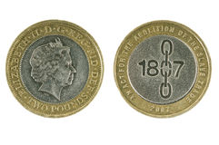 British Coin Two Pounds. Stock Photo